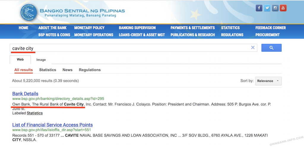 オウンバンクのフィリピン中央銀行の登録情報